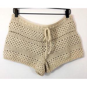 Pants - Handmade Tan Crochet Festival Shorts